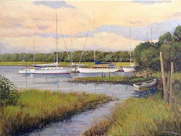 Frederick Kubitz painting of sail boats docked on marsh