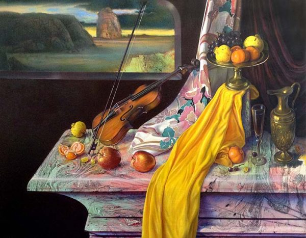 Victor Cadillo painting of still life with violin and fruit with surrealist background