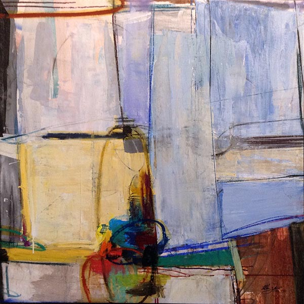 Helen Zarin painting of abstract with colorful lines and shapes