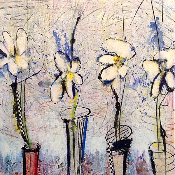 Helen Zarin painting with stylized white flowers in vases