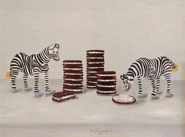 Patti Zeigler painting of toy zebras eating oreos