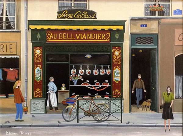 Eliane Thierry painting of butcher shop on village street in France