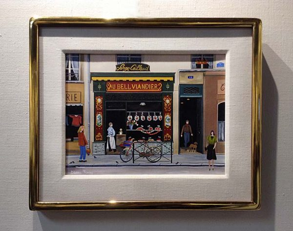 Framed Eliane Thierry painting of shops in France