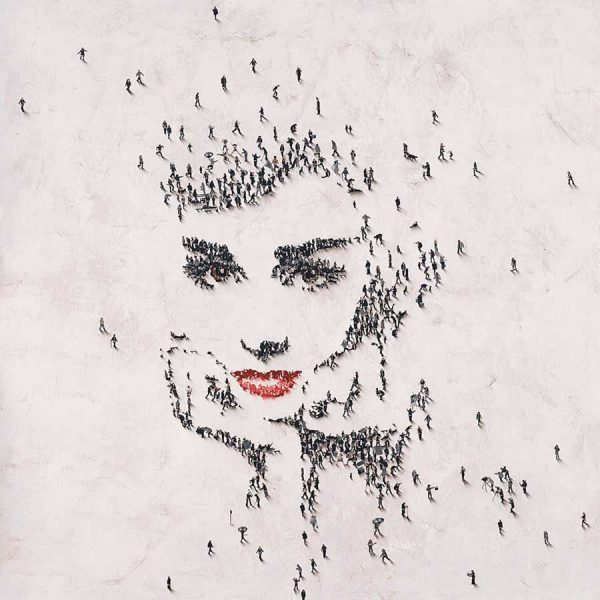 Craig Alan giclee Audrey at Tiffany's print of small people creating Audrey Hepburn's face