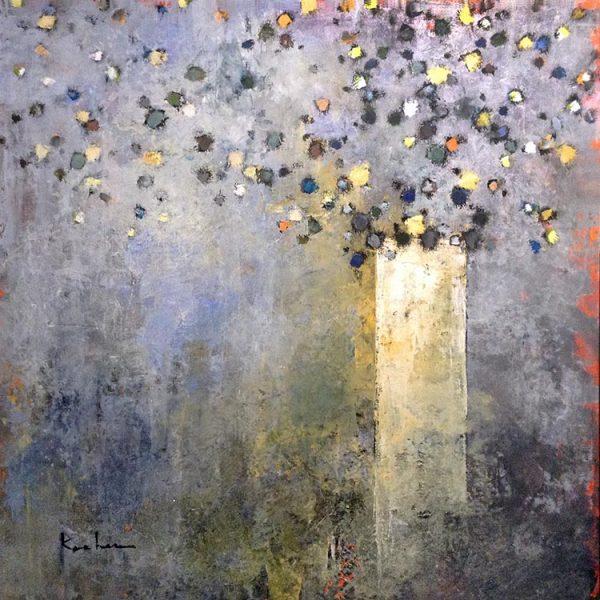 Jeff Koehn painting impressionistic flowers in vase