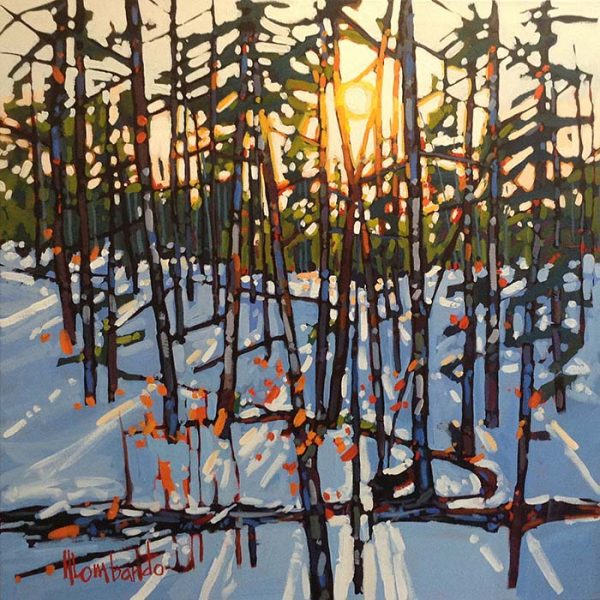 Holly Lombardo painting of snowy birch forest at sunrise or sunset