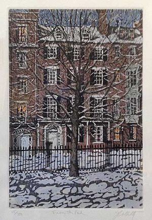 John Collette etching From the Park of a brick house with a tree in winter