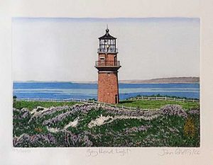 John Collette etching Gay Head Light of lighthouse on coast