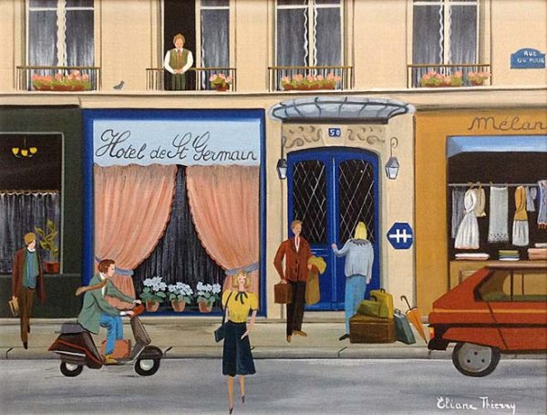Eliane Thierry painting of hotel on a busy village street in France