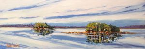 Holly Lombardo painting of two small islands with trees on large body of water
