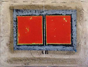 James Coignard - L'Axe Blanc etching of red squares on blue/grey and beige background