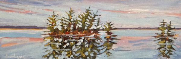 Holly Lombardo painting of small island with pine trees on reflective water