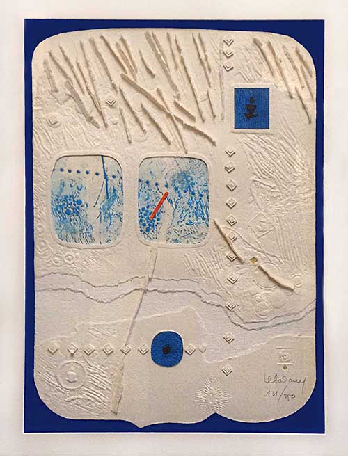 Lebadang textured print/sculpture/collage with 3D bits and blue images