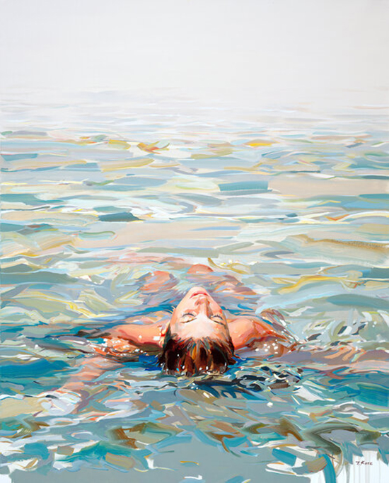 Josef Kote Letting Go woman floating on back in water