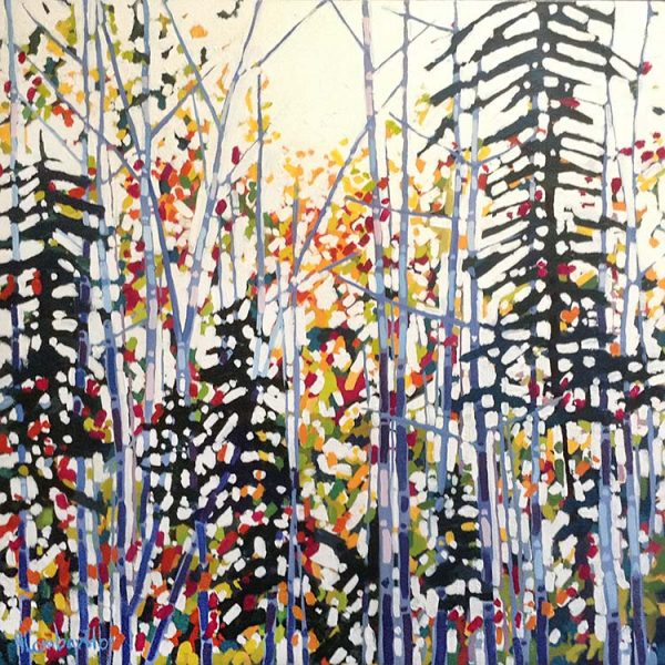 Holly Lombardo painting of multicolored trees in forest with sunlight