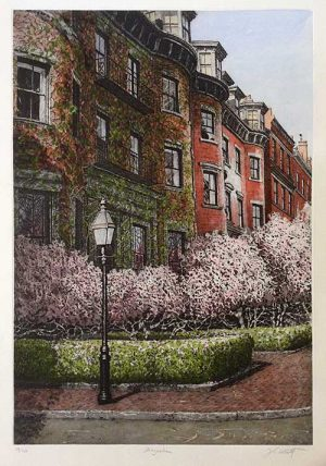 John Collette etching Magnolias of Boston street with homes and blooming trees