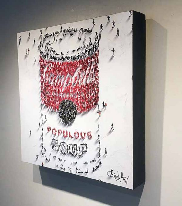 Craig Alan painting of Campbell's soup can made of tiny people