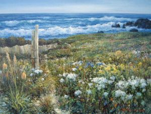 Sang Lee painting of field of flowers with a fence post by ocean