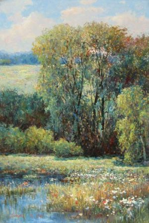 Sang Lee painting of sunny day in field with pond and trees