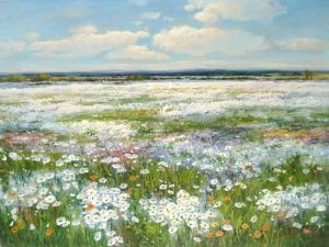 Sang Lee painting of a field of wildflowers on a sunny spring day