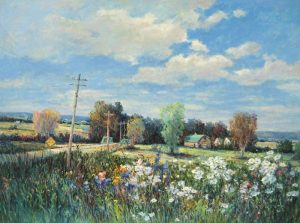 Sang Lee painting of a field of flowers next to a barn and telephone poles