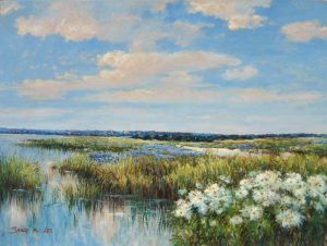 Sang Lee painting of marshy landscape with wildflowers