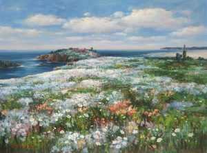 Sang Lee painting of flowery inlet surrounded by ocean