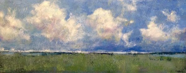 Kathleen Reilley painting of coast with fluffy clouds