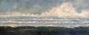 Kathleen Reilley painting of coast with dark water and clouds