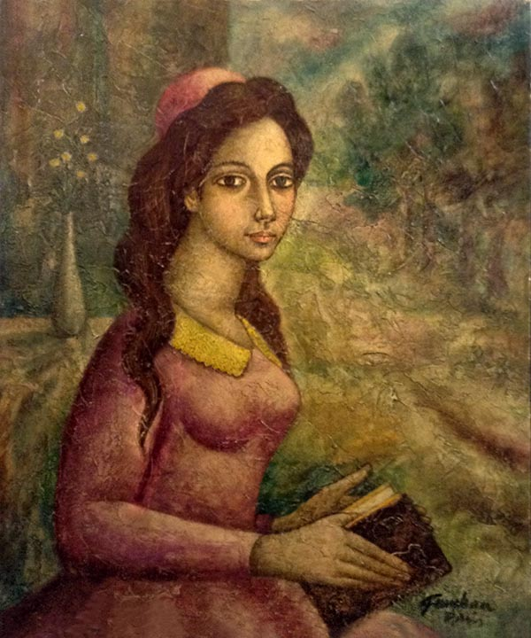 José Gumbau Vidal painting portrait of seated woman holding book