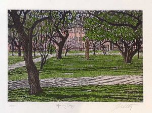 John Collette etching Spring Day of trees in garden with walking paths and brick building
