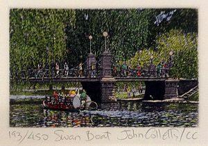 John Collette etching Swan Boat of bridge in Boston Public Gardens with swan boat on water