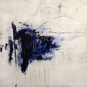 Joshua Schicker abstract painting of blue mass on white background