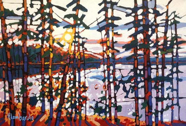 Holly Lombardo painting of trees around pond at dusk or dawn