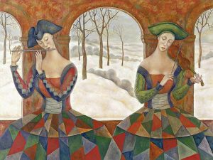 Tatyana Eliseeva giclee of two lady musicians playing during winter