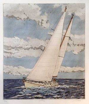 John Collette etching Yachting of large sailboat on water