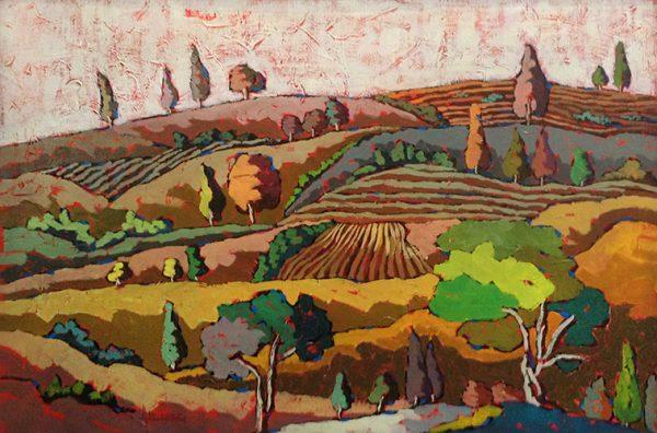 Ingrid Alvarez stylized painting of countryside