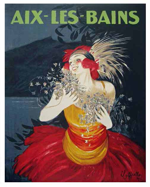 vintage poster by Leonetto Cappiello for Aix les Bains of a smiling woman in a bright dress by water