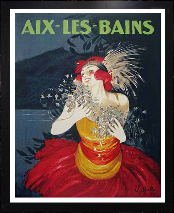 vintage poster advertisement for Aix les Bains of a woman in a bright dress framed