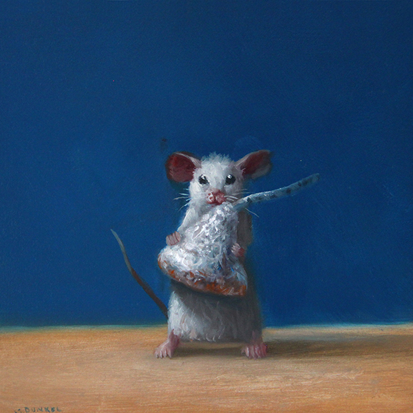 Stuart Dunkel painting of a white mouse holding a wrapped Hershey's kiss