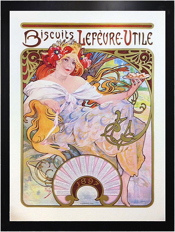 framed Alphonse Mucha advertisement vintage french poster for cookies