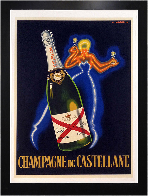 framed vintage poster advertisement for Champagne de Castellane with neon woman and large bottle