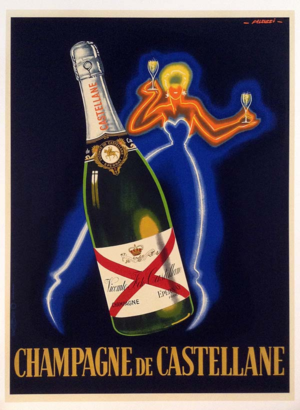 Robert Faliucci vintage poster sdvertisement for de Castellane champagne with neon woman and giant bottle