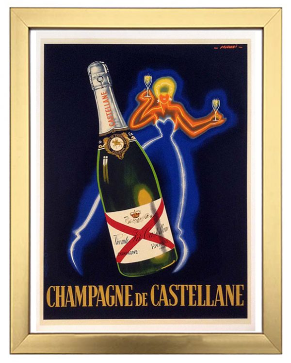 framed vintage poster advertisement for Champagne de Castellane with neon woman and a large bottle