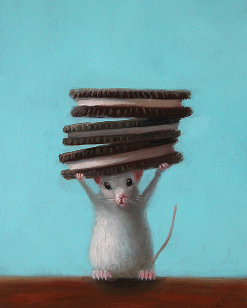 Stuart Dunkel painting of a white mouse holding a stack of 3 oreo cookies
