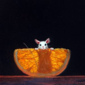 Stuart Dunkel painting of a mouse on hind legs standing behind an orange slice