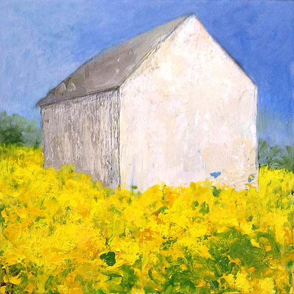 Brenda Cirioni mixed media painting of white house in bright grassy field