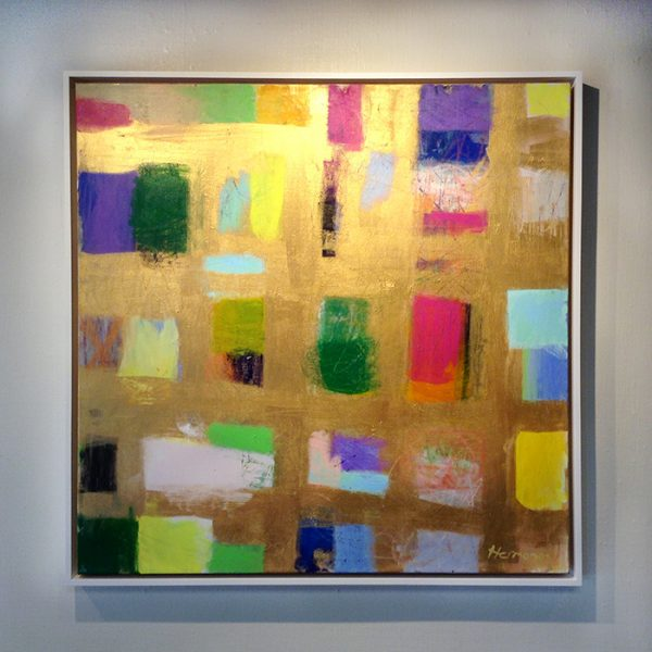 Framed Ellen Hermanos painting of multi-colored shapes on gold background