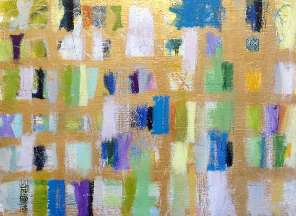 Ellen Hermanos painting of multi-colored swatches on gold background