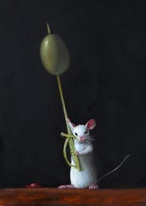 Stuart Dunkel painting of a white mouse holding a plastic cocktail sword with an olive skewered on it